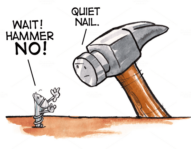 Cartoon of a hammer contemplating to nail a screw
